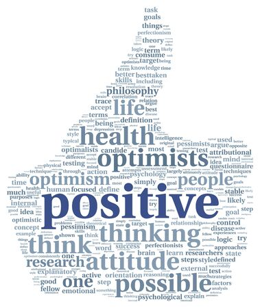 mindset: Positive and mindset concept in word tag cloud Stock Photo