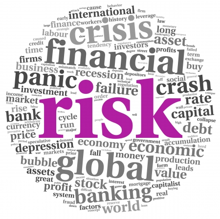 global retirement: Risk in economy and finance concept in word tag cloud on white background