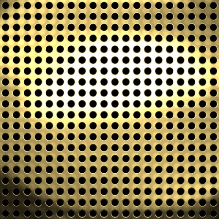 Golden metal mesh with small holes background or texture
