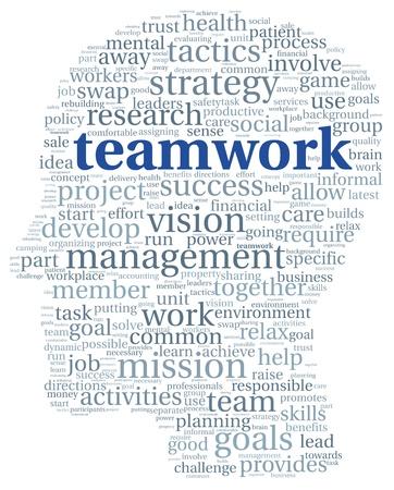 head tag: Teamwork concept in word tag cloud of head shape