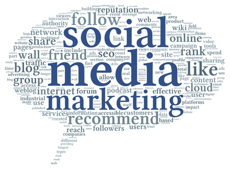 Social media marketing concept in word tag cloud of think bubble Stock Photo - 20866516