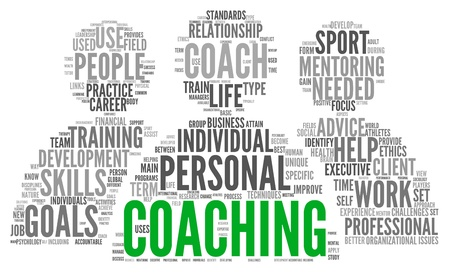 Coaching concept related words in tag cloud isolated on white Фото со стока