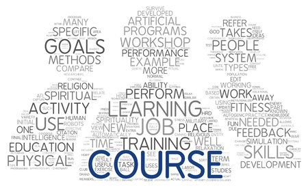 required: Course and training related words concept in tag cloud Stock Photo