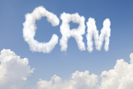 Customer relationship management CRM concept text word in clouds on blue sky