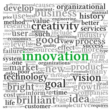 Innovation and technology concept related words in tag cloud on white Stock Photo - 21441355