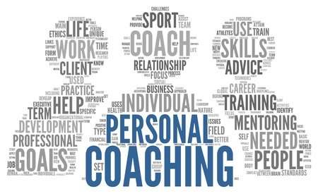 coach: Personal coaching concept related words in tag cloud isolated on white