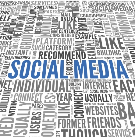 Social media concept in word tag cloud on white background Stock Photo - 21420077