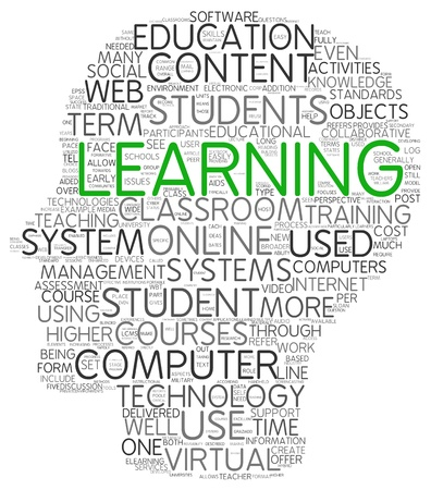 computer training: Learning and education concept in word tag cloud on white