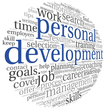 personal development: Personal development concept in word tag cloud on white