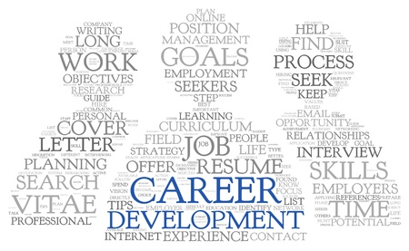 Career development in word tag cloud on white photo
