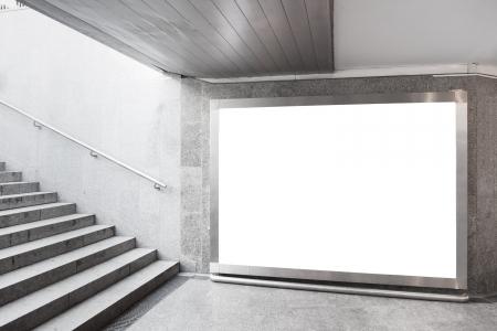 blank billboard: Blank billboard located in underground hall