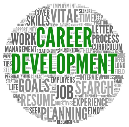 career job: Career development in word tag cloud on white