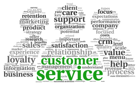 Customer service concept in word tag cloud on white photo