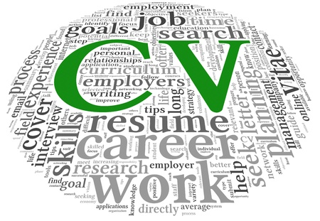 curriculum vitae: CV Curriculum vitae concept in word tag cloud on white background Stock Photo