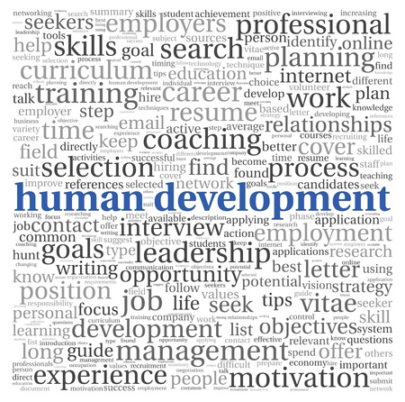 career development: Human development concept in tag cloud on white background Stock Photo