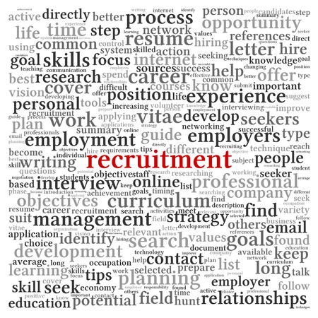 Recruitment concept in word tag cloud on white background photo