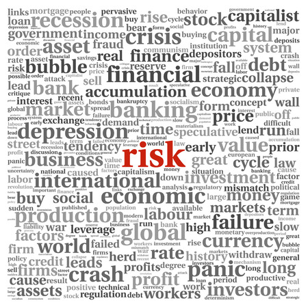 decline in values: Risk in economy and finance concept in word tag cloud on white background