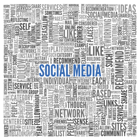 Social media concept in word tag cloud on white background Stock Photo - 22793841