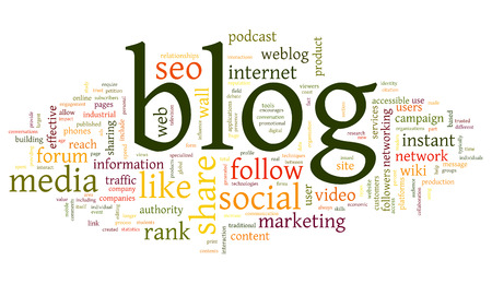 microblogging: Blog and social media concept in word tag cloud on white background