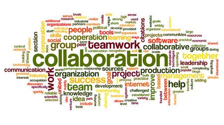 흰색 배경에 고립 된 단어 태그 구름에 협업 개념