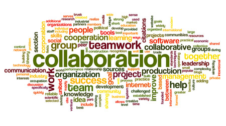 tags cloud: Collaboration concept in word tag cloud isolated on white background