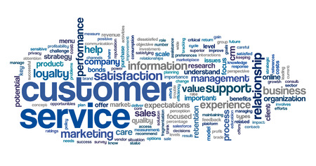 customer focus: Customer service concept in word tag cloud on white