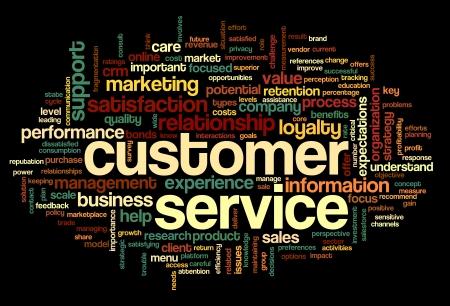 Customer service concept in woord tag cloud op zwarte Stockfoto