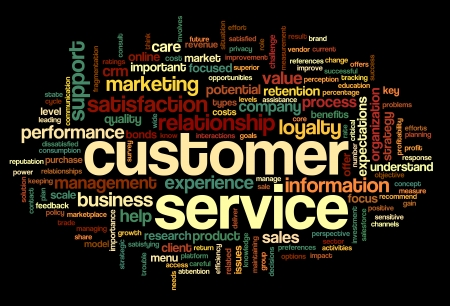 Customer service concept in word tag cloud on black photo