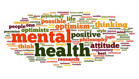 Geestelijke gezondheid concept in woord tag cloud op wit