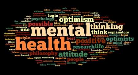 Mental health concept in word tag cloud on black photo