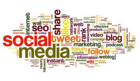 Social media concept in word tag cloud on white background Banco de Imagens