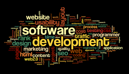 programmed: Software development concept in tag cloud on black background