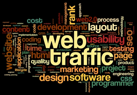 visitors: Web traffic concept in word tag cloud on black Stock Photo