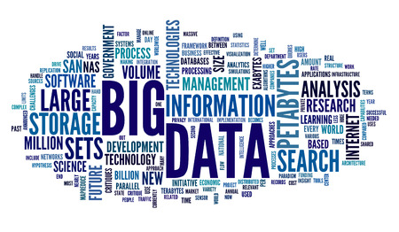 Big data concept in word tag cloud on white background photo