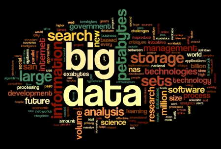 big: Big data concept in word tag cloud on black background