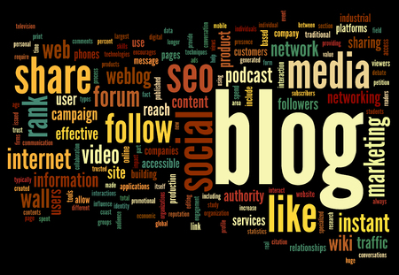 weblog: Blog and social media concept in word tag cloud on black background Stock Photo