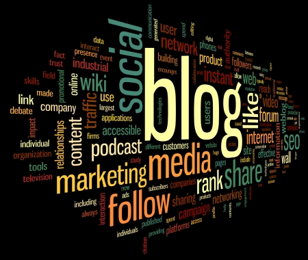 Blog and social media concept in word tag cloud on black  background photo