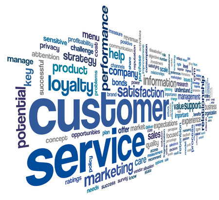 servicio al cliente: Concepto de servicio al cliente en la nube de palabra de la etiqueta en blanco