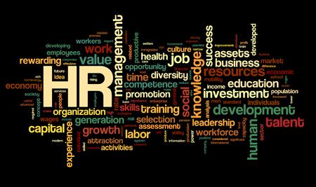 RH - concept de ressources humaines en nuage sur fond noir
