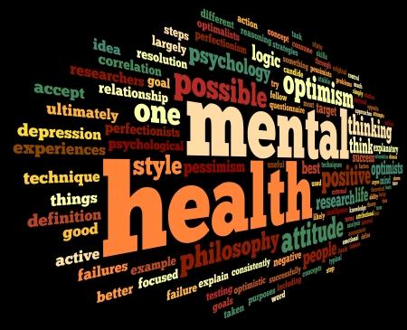 Geestelijke gezondheid begrip in woord tag cloud op zwart Stockfoto