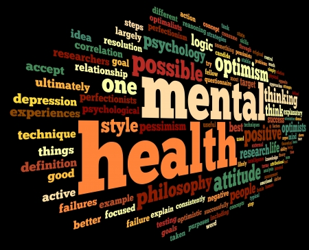 Mental health concept in word tag cloud on black Stock Photo - 23091831