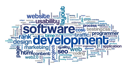 page rank: Software development concept in tag cloud on white background