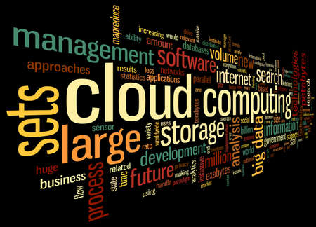 procedure: Cloud computing concept in word tag cloud on white in cloud shape