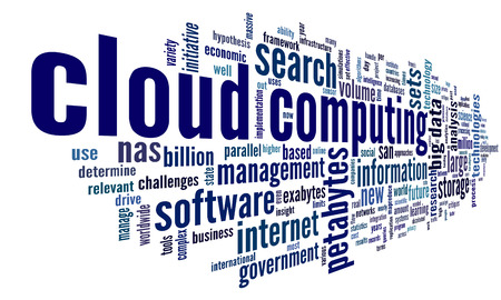 cloud network: Cloud computing concept in word tag cloud on white in cloud shape