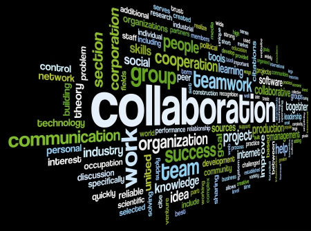 business words: Collaboration concept in word tag cloud isolated on black background