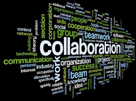 Concepto de colaboración en la nube de palabra de la etiqueta aisladas sobre fondo negro
