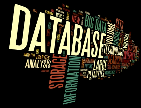large size: Database concept in word tag cloud on black background