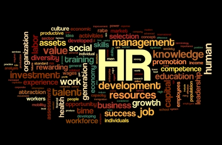 HR - human resources concept in tag cloud on black background photo