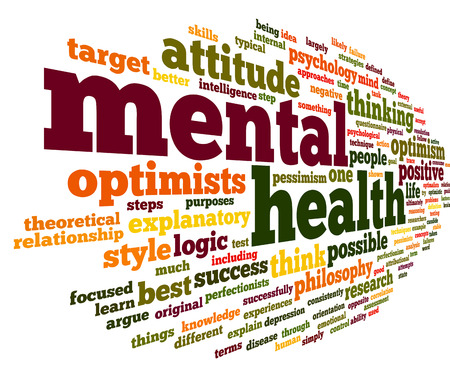 human health: Concepto de salud mental en la nube de palabra de la etiqueta en blanco Foto de archivo