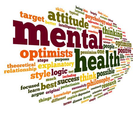 wort: Psychische Gesundheit Konzept in Wort tag cloud auf weiß Lizenzfreie Bilder